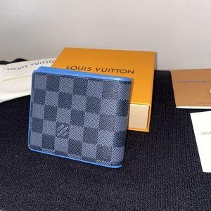 Louis Vuitton Blue Lining Checkered Bi-Fold